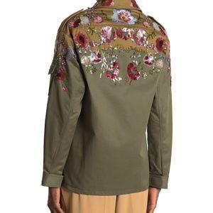 VALENTINO Gabardine Embellished Military Jacket